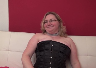 Chunky aged lesbians works her gap with her marital-device