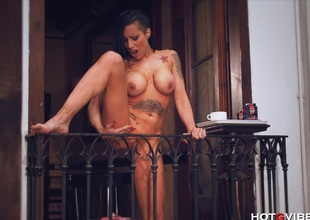 Breasty Mom Squirts from her Balcony