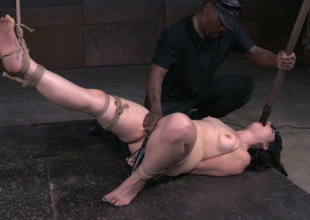 Fixed in Rope Ladder style brunette nympho gets her cunt teased with sex-toy