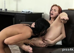 Cute nympho is geeting peed on and squirts wet vulva