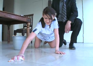 Pretty pigtailed chick Kylie Moore is cleaning the house and taking dick betwixt her legs