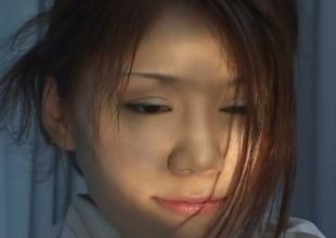 Shy nurse Runa Tominaga stripping in front of horny patient