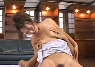 Naughty Jap whore facesitting thirsty dude in kinky porn movie