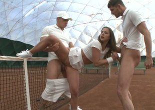 Two men fuck lusty chick in white petticoat Amirah Adara