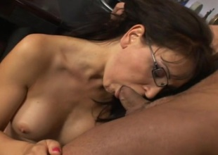 Anal MILF in glasses sucking jock and getting fucked and face jizzed