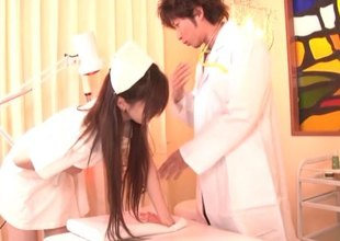 Japanese nurse sucks the schlong like there is no the next day