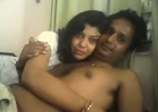 Horny non-professional Indian aged pair spooning in front of webcam