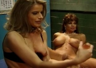 Lewd lesbos toying ahead of a facial in a group sex fuckfest