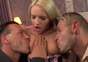 Britney Spring smutty blonde likes engulfing of her tits before doubled fuck