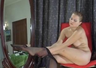 Megan in pantyhose action