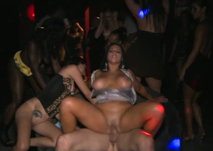 Sex-crazy slut Bella Reese is drilled hard at the party