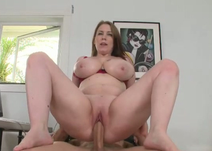 Sex-crazy secretary with huge scones Desiree rides hard dick of her boss