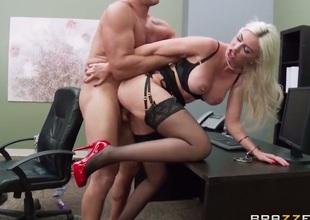 Blonde pornstars is drilled on the desk