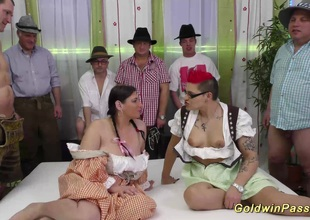 hawt chicks in wild lederhosen gangbang