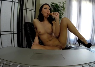 Sabrina Banks is too sexy to stop stroking her snatch