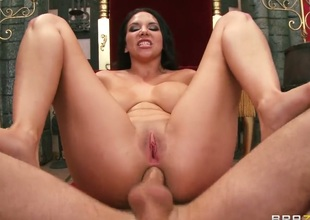 Missy Martinez with giant breasts loves the way James Deen slams her bum