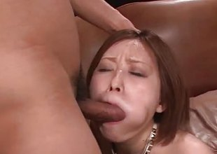 Tempting asian gets her mouth filled with cock