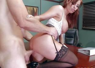 Britney Amber copulates porn loving employee across her desk