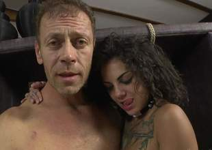 Bonnie Rotten and Valeria Visconti show every inch of their hot bodies to Rocco Siffredi. They shake their asses and bare their pleasant tits. Flirtatious babes make man happy