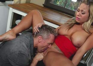 Busty blonde in red Olivia Austin gets her oozing wet snatch eaten out and fucked so hard in the kitchen. Her excited as hell fuck buddy loves her sweet vagina. He drills her tiny hole with passion