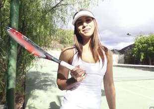 Sexy tennis girl Sara Luvv in white uniform flaunts her sexy booty outdoors and then plays with lucky dudes hard cock. Sporty hottie Sara Luvv gives hand and head on her knees