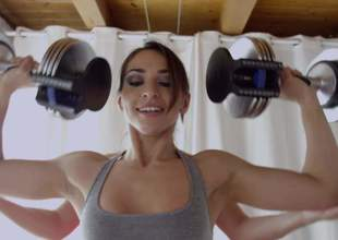 2 sporty brunettes Lea Lexis and Sara Luvv show fof their tight bodies during workout. They flaunt their marvelous asses as they do it in front of the camera. Watch enjoy!