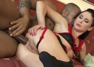 Kid Jamaica touches the hottest parts of ultra hot Alma Blues body after he bonks her bum hole
