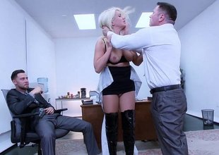 Sexy secretary discovers her pussy can drink two