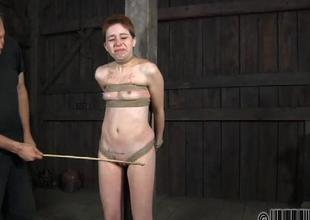 Brave gal is getting perverted beating on her wazoo