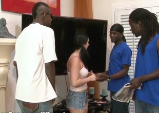 Pigtailed cutie does a gangbang with the big black cocks